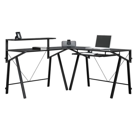 L Shaped Glass Desk Shop Sauder Vector Black Glass L Shaped Desk At Lowes