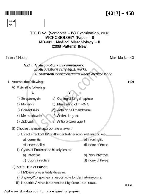 microbiology tutorial questions question paper medical microbiology 2 2013 2014 b sc