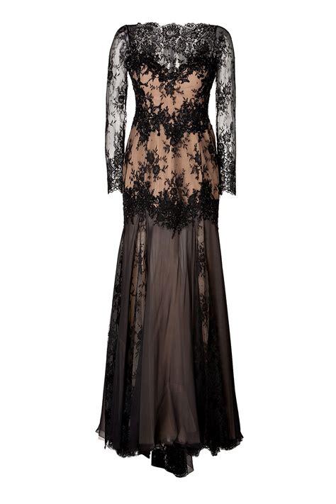 Floor Length Robes by Zuhair Murad Floor Length Lace Robe Dress Black In Black