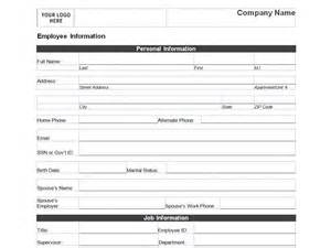 information form template employee personal information form template