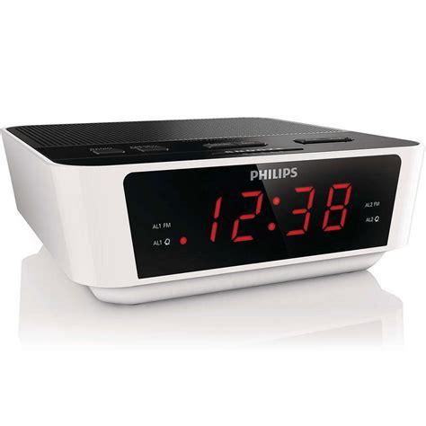 philips aj3115 fm dual alarm clock radio digital tuning big number large display