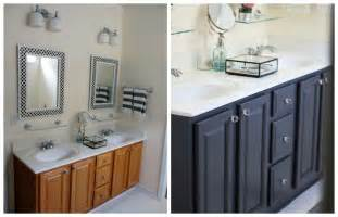 oak bathroom cabinets painted black or dark gray with