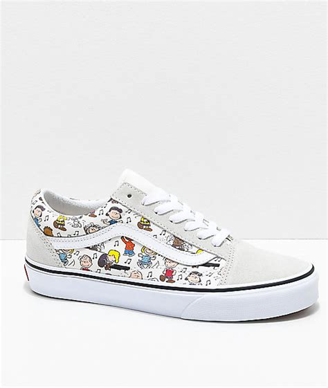 colored vans vans x peanuts skool multi colored white skate shoes