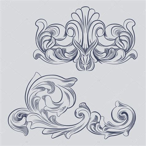 baroque designs baroque engraving floral design stock vector 169 tueris
