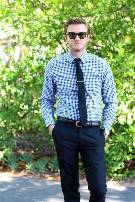 Blue Dress Shirt Tie by Gingham Or Not To Gingham Brick Vine