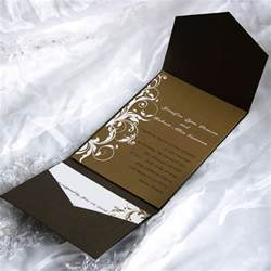 classic brown pocket wedding invitations with free response cards ewpi028 as low as 1 69