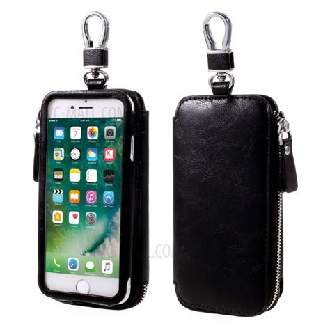 iphone keychain keychain design zipper wallet leather phone for iphone 7 plus 6s plus black tvc mall