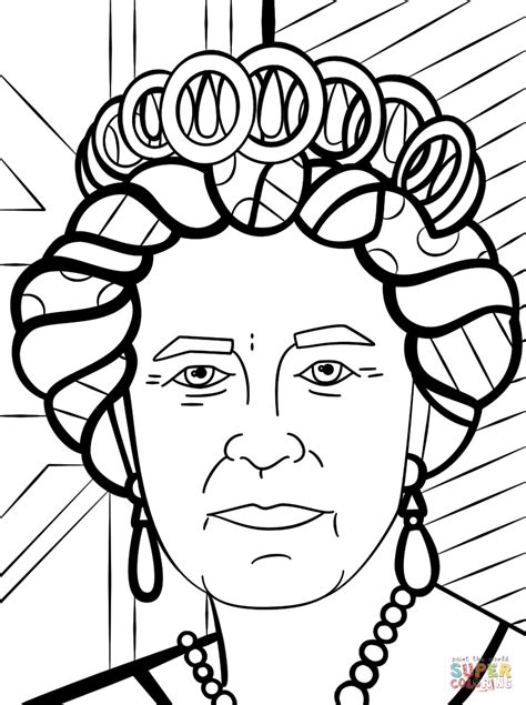coloring pages of the queen queen elizabeth by romero britto coloring page free