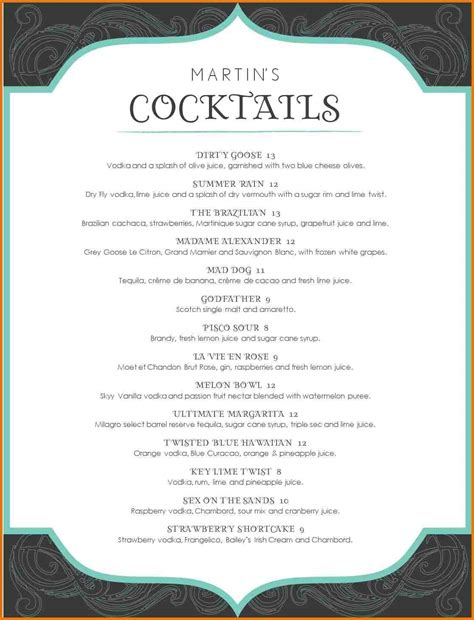 Cocktail Menu Template Word Free 1 Best And Professional Templates Cocktail Menu Template Free