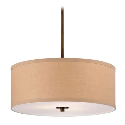 Pendant Lighting Drum Shade Contemporary Drum Pendant Light With Gold Linen Shade Ebay