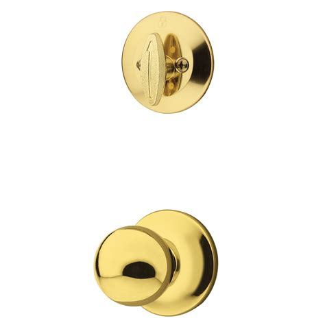 Kwikset Interior Door Knobs Shop Kwikset Polo 1 3 4 In Polished Brass Single Cylinder Knob Entry Door Interior Handle At