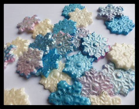 glimmer snowflakes fondant cupcake toppers cake decoration for disney frozen