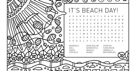 printable word search beach weelife word search colouring page it s beach day