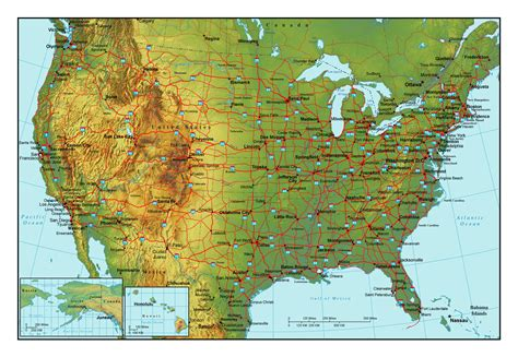 map usa states cities and highways topographical map of the usa with highways and major