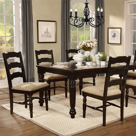 Black Dining Room Sets | homelegance sutherlin 5 piece dining room set in black