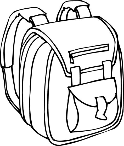 coloring backpack printable outline of a backpack with padded straps