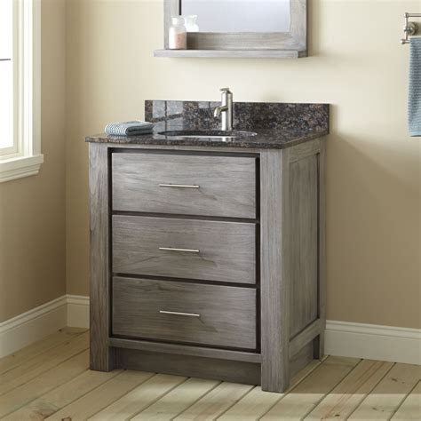 Grey Bathroom Vanity Cabinet 30 Quot Venica Teak Vanity For Undermount Sink Gray Wash Bathroom