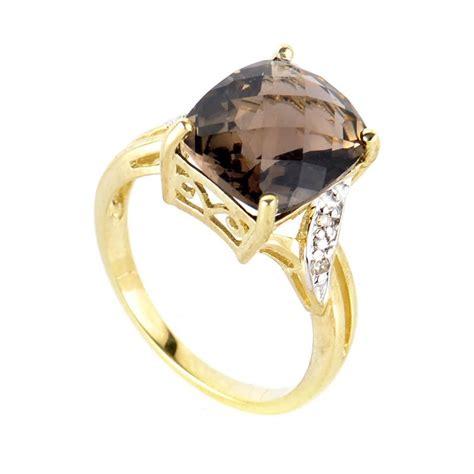 rings 10k yellow gold smoky topaz ring lc1