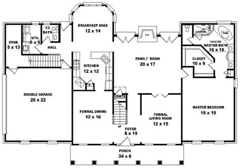 Georgian Style Floor Plans | 654699 georgian style 4 bedroom 3 5 bath house plan