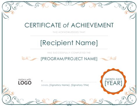 templates for certificates of achievement achievement certificate template
