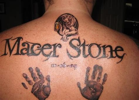 tattoos for men writing baby handprint and footprint writing and handprint