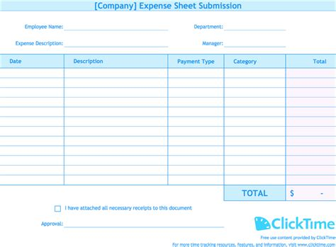 Expense Report Template Track Expenses Easily In Excel Clicktime Excel Spending Template