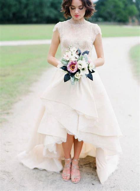 top  high  wedding dresses deer pearl flowers