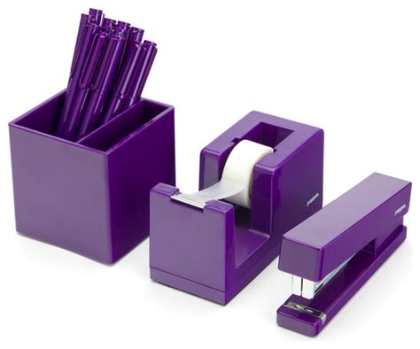 Modern Desk Supplies Starter Desk Set Purple Modern Desk Accessories