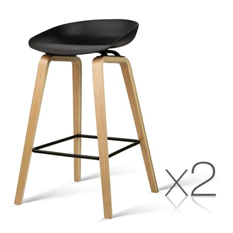 Metal Footrest For Bar Stools by Set Of 2 Wooden Bar Stools With Metal Footrest Black
