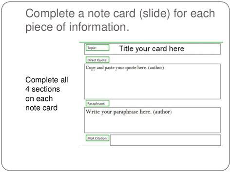 research source card template note cards in power point