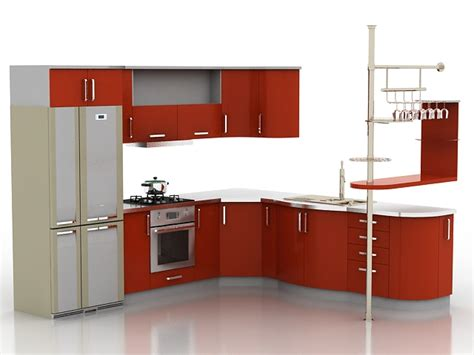 Kitchens Furniture by Red Kitchen Furniture Set 3ds Max Models Free 3d Models