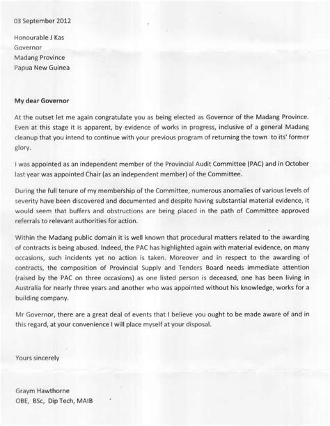 exle of formal letter to the governor corruption rife in madang provincial administration