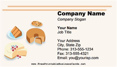 Free Printable Bakery Business Card Templates by Pin Baking Business Cards 2200 Card Templates Cake On