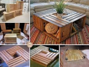 Diy Coffee Table Crates Wonderful Diy Coffee Table From Recycled Wine Crates