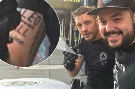 leonardo dicaprio tattoos tom hardy loses bet receives new ink