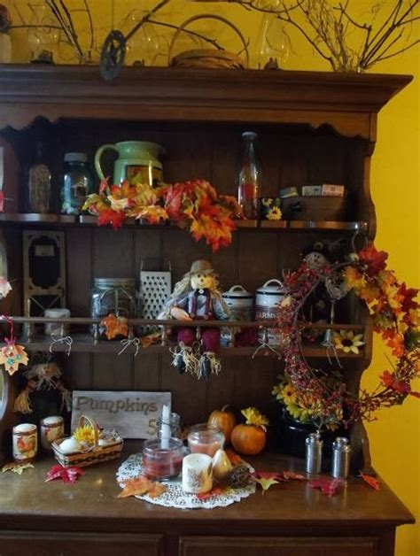 fall country decor fall hutch decor ideas country rustic and primitive