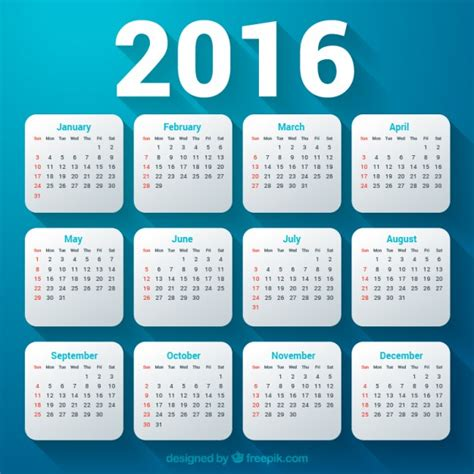free 2016 calendar templates 2016 calendar template vector free
