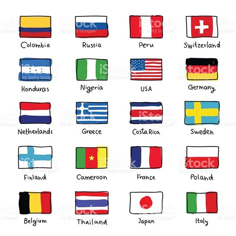 different countries in icons of flags of different countries stock vector