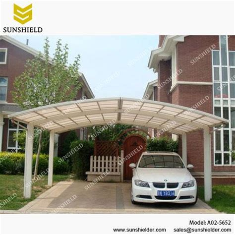 Metal Roof Car Shelter by Garage Port For 2 Cars Sunshield Outdoor Polycarbonate