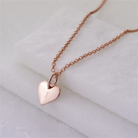 rose gold engraved rose gold plated initial heart necklace lily