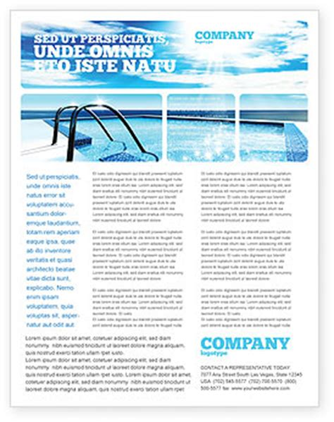 Swimming Pool Flyer Template Background In Microsoft Word Publisher And Illustrator Formats Swimming Flyer Templates Free