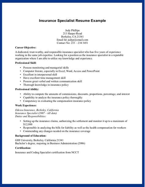 Insurance Resume Sle Insurance Specialist Skills For Resume Recentresumes