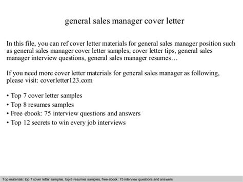general cover letters sles general sales manager cover letter
