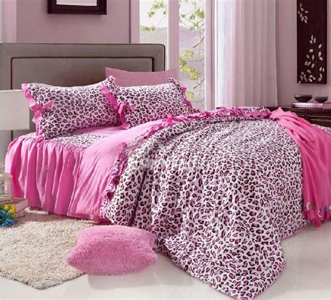 unique pink leopard print 4 piece bedding sets comforter