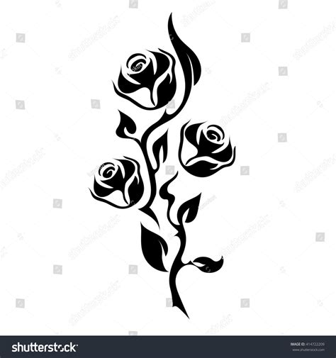 rose tattoo silhouette branch three flowers stock vector