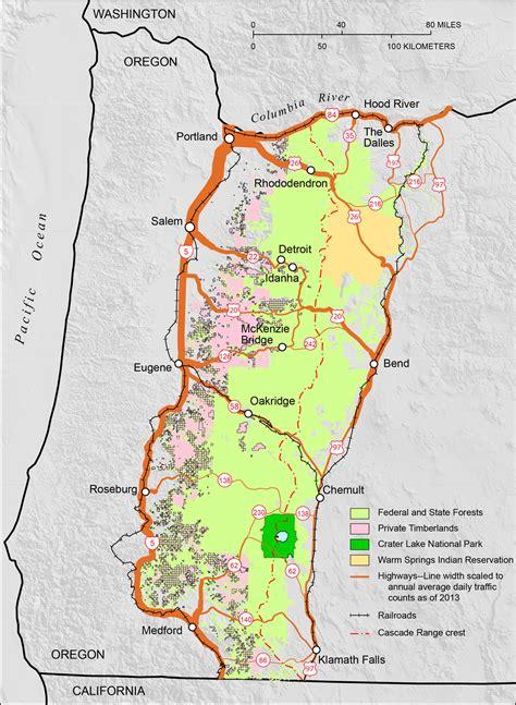 map of oregon mountain peaks cascade mountain range in oregon