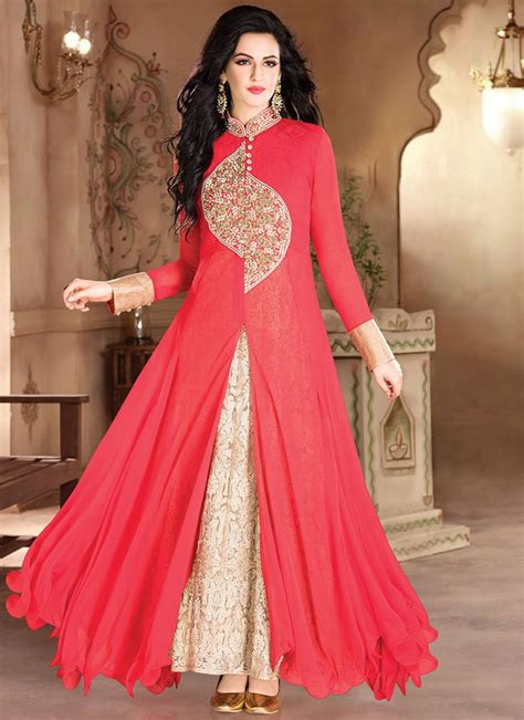 hairstyles for evening gowns indian red georgette layered anarkali gown indian fashion