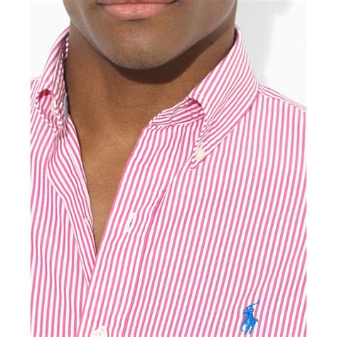 Blouse Qorry Polo Pink polo ralph polo customfit shortsleeve striped poplin sport shirt in pink for lyst