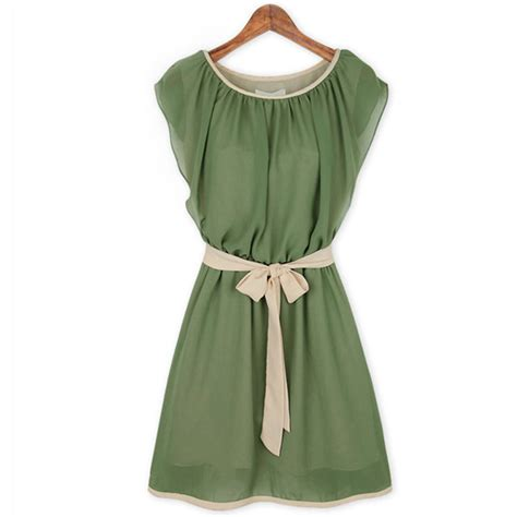 Chiffon Dress Green 30799 green chiffon dresses butterfly sleeve casual vestidos lacing belt summer style plus size