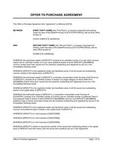 offer to purchase contract template offer to purchase shares agreement template sle